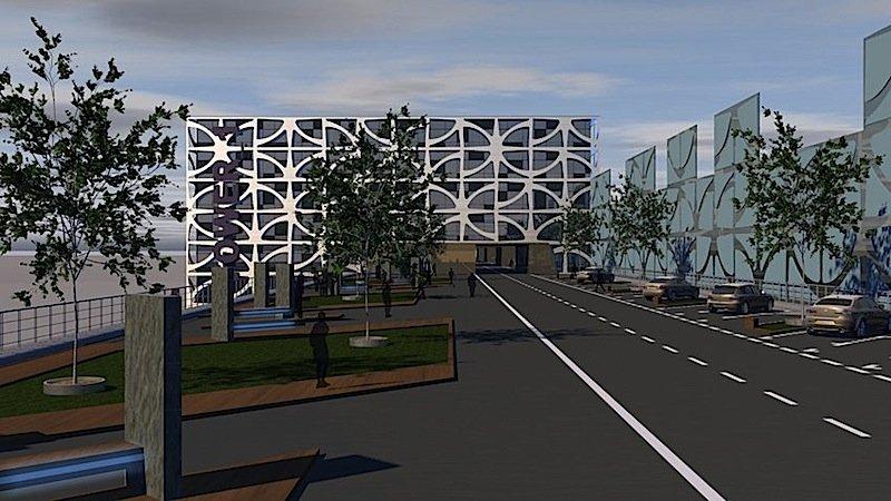 So könnte die Lahntalbrücke nach dem Umbau aussehen:Auf 28.000 Quadratmetern sollen über der Lahn Wohnungen, Hotels, ein Kongresszentrum und Restaurants entstehen.