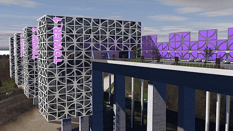 Vier Wohnhäuser sollen mit der400 Meter langen und 57 Meter hohen Lahntalbrücke verschmelzen. Jedes soll eine Wohnfläche von 7000 Quadratmetern haben.