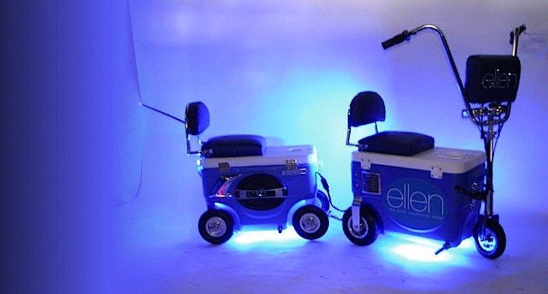 Das Cruzin-Kühlfahrzeug transportiert Getränke und Lebensmittel, ist aber noch nicht so cool wie das kühlende Elektrotrike.