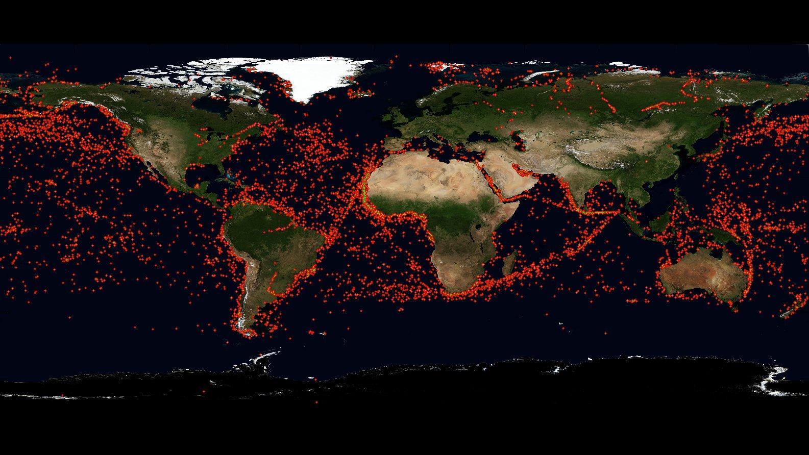 Seit seinem Start am 30. Juni 2014 hat der Satellit AISat des Deutschen Zentrums für Luft- und Raumfahrt weltweit über 52.000 Schiffsmeldungen empfangen (rote Punkte).