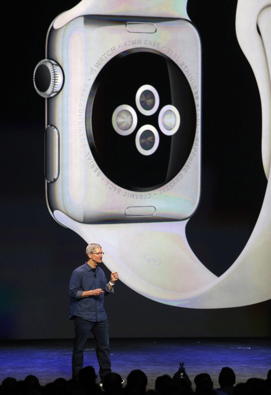 Die Computeruhr Apple Watch wird über ein kleines Rädchen gesteuert – angelehnt an den Look mechanischer Uhren.