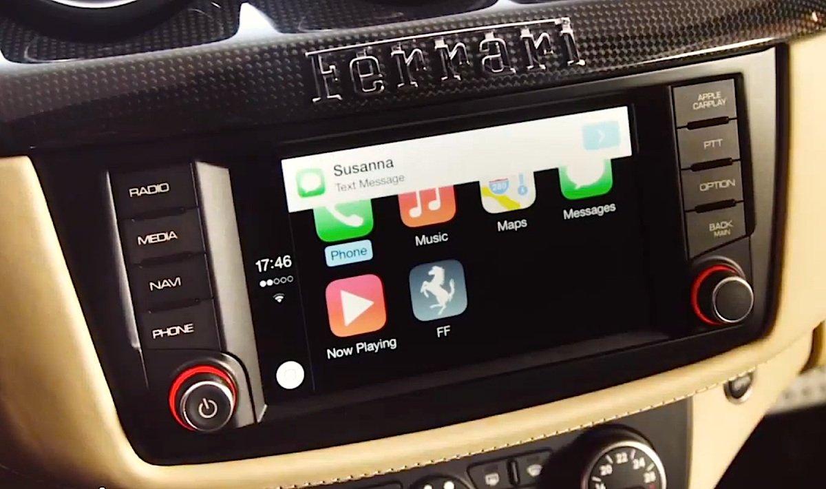 Ferrari ist der erste Autohersteller, der Apple CarPlay-System eingeführt hat. Gerade liefert der Hersteller die ersten Modelle aus.
