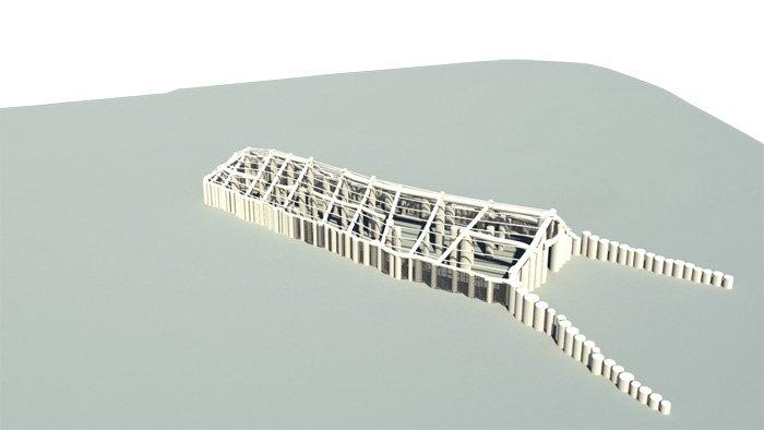 Ausschnitt der 3D-Umgebungskarte: Der Bodenradar hat ein acht Meter breites und 33 Meter langes Holzhaus sichtbar gemacht. Es ist vermutlich 6000 Jahre alt.