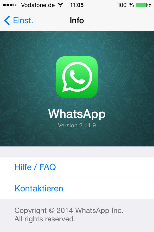 Seit Montag ist die aktuelle Version 2.11.9 von WhatsApp verfügbar. Wer auf seinem Smartphone eingestellt hat, dass Apps automatisch aktualisiert werden sollen, bekommt auch die neueste WhatsApp Version unkontrolliert.
