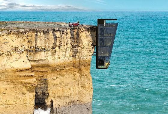 Einer der spektakulärsten Wohnplätze der Welt: Die Architekten des australische Unternehmens Modscape haben ein Ferienhaus entwickelt, das direkt an einer Klippe montiert ist und ein unglaubliches Wohnerlebnis bietet.