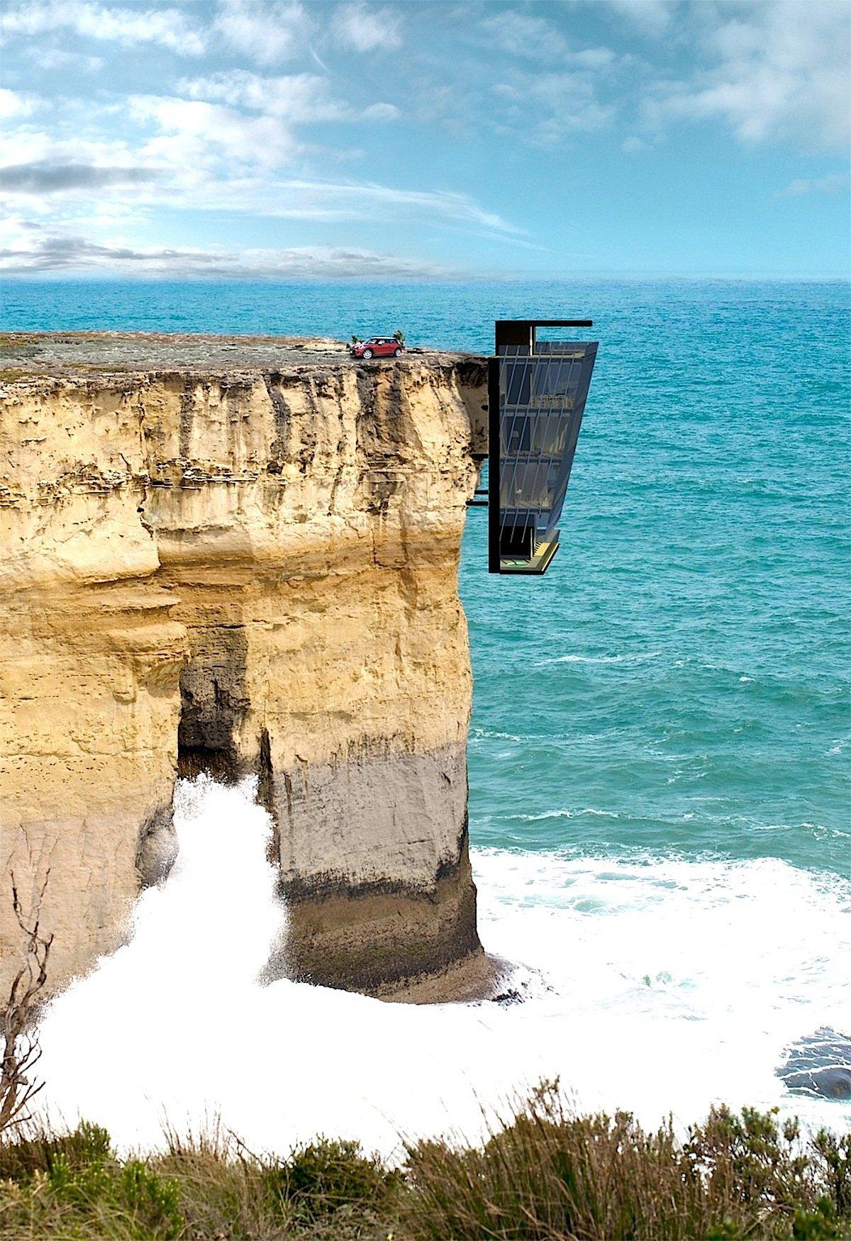 Nichts für Angsthasen: Das fünfstöckige Hausam Meer ist mit Stahlbolzen seitlich am Gestein einer Klippe befestigt – und hängt deshalb direkt über der Brandung.