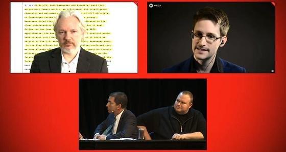 Der Deutsche Kim Dotcom (rechts unten) kandidiert mit seiner Internet-Party für das neuseeländische Parlament. Ihn unterstützen der Enthüllungsjournalist Glenn Greenwald (links unten), Whistle-Blower Edward Snowden (oben rechts) und Wikileaks-Gründer Julian Assange.