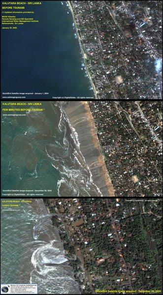 Satellitenbild des Tsunamis am 26.12.2004 vor Sumatra: Deutlich zu sehen ist, wie sich das Wasser zunächst zurückzieht, um dann mit Gewalt das Land zu überschwemmen.