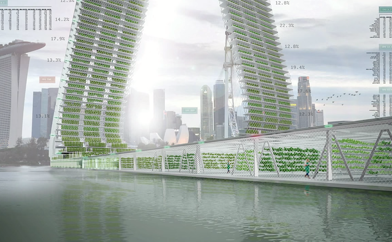 Mit den neuen Hochhäusern könnte Singapur vom Lebensmittelimport unabhängiger werden. Bislang importiert das Land fast 90 Prozent des Bedarfs.