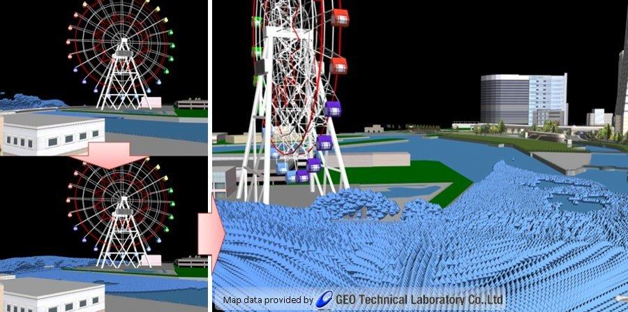 Simulation einer Tsunami-Welle an Land: Eine neue 3D-Technik des Computerherstellers Fujitsu will den Verlauf einer Tsunami-Welle auch an Land und damit die genauen Zerstörungen vorhersagen.