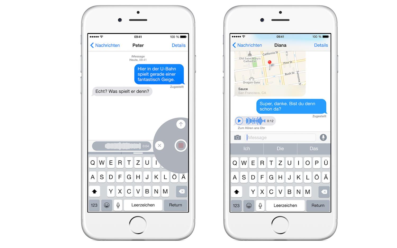 Mit iOS8 können iPhone-Besitzer jetzt im Nachrichtenmanager auch Sprachnachrichten verschicken – ähnlich wie bei Whatsapp.