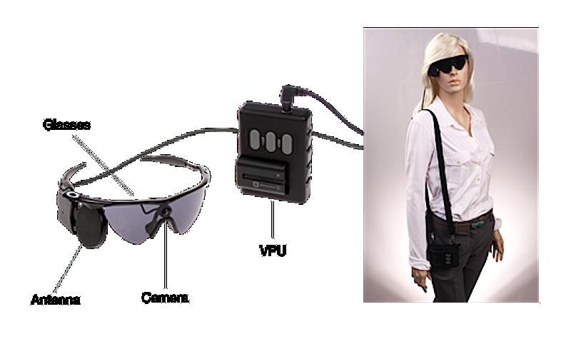 Die äußeren Komponenten des Systems Argus II: An der Brille befinden sich Kamera, Sender, Antenne.