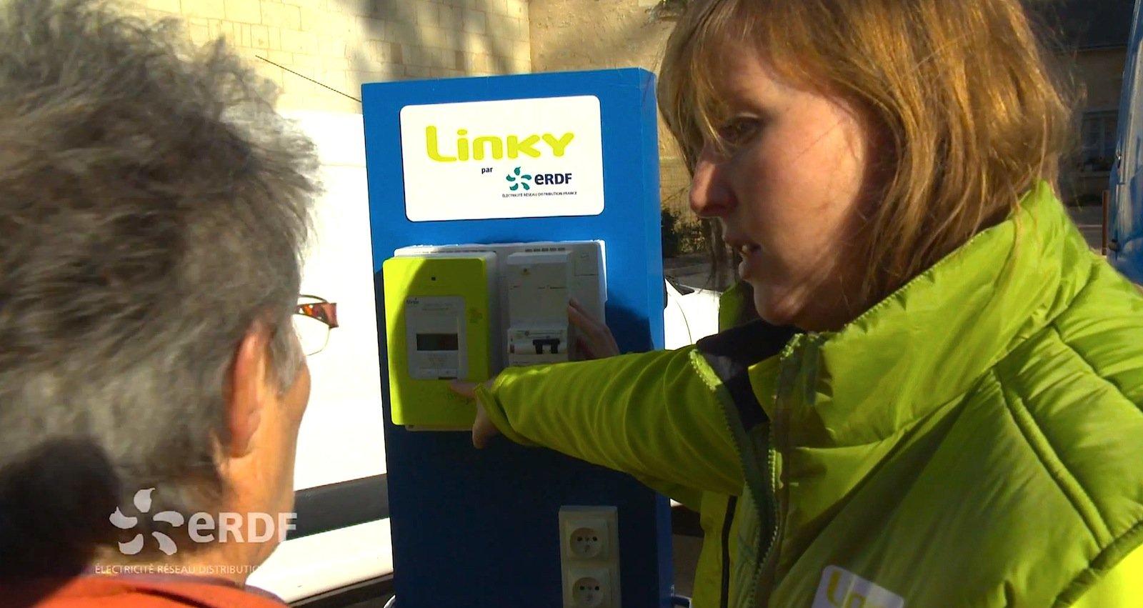 Werbeaktion für den intelligenten Stromzähler Linky in Frankreich: Bereits bis 2016 sollen drei Millionen Zähler in französischen Haushalten montiert sein.