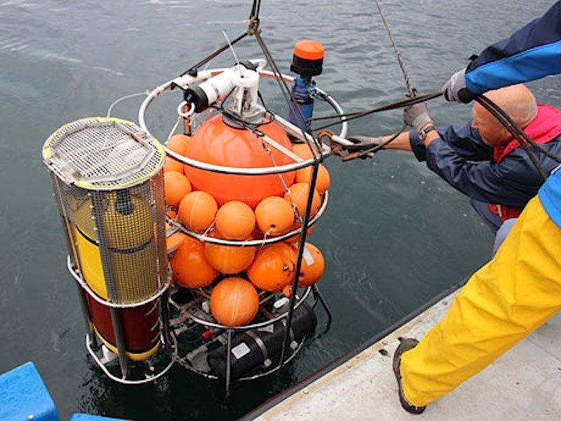 Die Unterwasserwinde ist mit Messsensoren bestückt und wird von Bord gelassen.