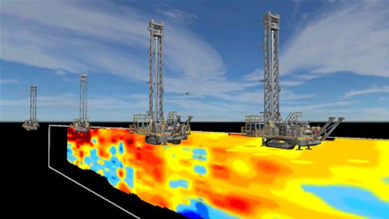 Bohrgeräte und Fahrzeuge mit Datenauswertungssystemen produzieren ständig 3D-Karten. So sieht Rio Tinto auch frühzeitig, welche Fördergeräte wann zum Einsatz kommen müssen.