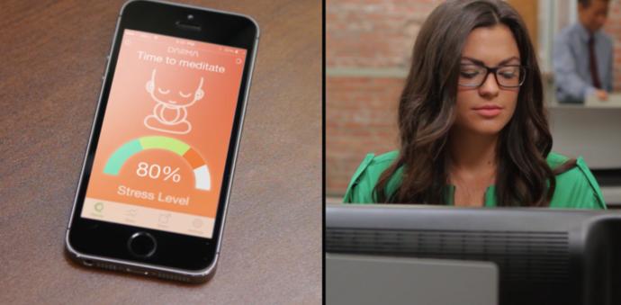 Auf dem Smartphone kommen die Informationen des smarten Kissens an. Auch der Stresslevel der sitzenden Person wird gemessen.