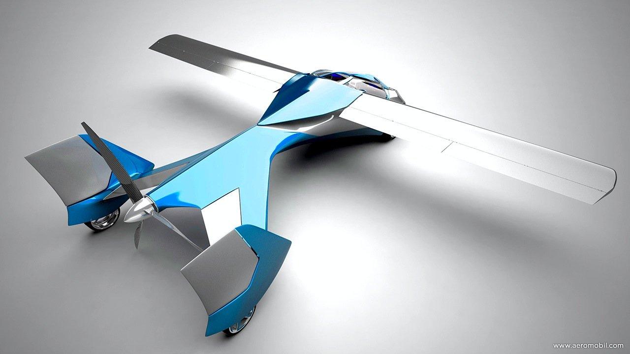 Das Aeromobil von oben gesehen: Deutlich zu erkennen ist der hinten liegende Propeller. Die Flügel werden während der Fahrt eingeklappt.