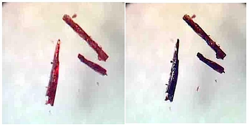 Das kristalline Material verändert seine Farbe bei der Aufnahme oder Abgabe von Sauerstoff.DieKristalle sind schwarz, wenn sie mit Sauerstoff gesättigt sind, und rosa, wenn der Sauerstoff wieder abgegeben wird.