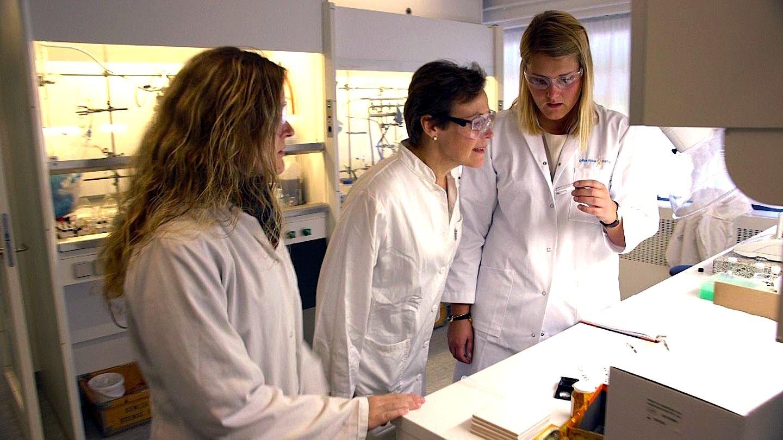 Professor Christine McKenzie im Labor der süddänischen Universität in Odense: Die Forscherin hat auf Basis von Kobalt ein Material entwickelt, das Sauerstoff ganz hervorragend speichern kann.