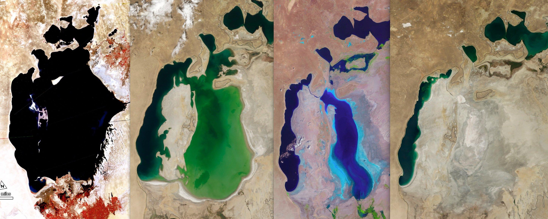 Der Aralsee hat inzwischen 90 Prozent seines Wassers verloren. Die Satelliten-Aufnahme links zeigt den See noch kraftstrotzend im Jahr 1977. Die weiteren Aufnahmen dokumentieren deutlich die rasante Abnahme in den Jahren 2000 und 2010. Rechts zu sehen ist eine aktuelle Aufnahme vom August: Der Ostteil des Aralsees ist verschwunden.
