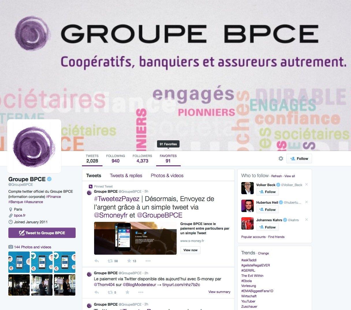Twitter-Account der französischen BankengruppeBPCE, die Sparkassen und Volksbanken vereint: Die Bank ist stolz, dass sie weltweit die erste ist, die Bezahlfunktionen per Twitter anbietet.
