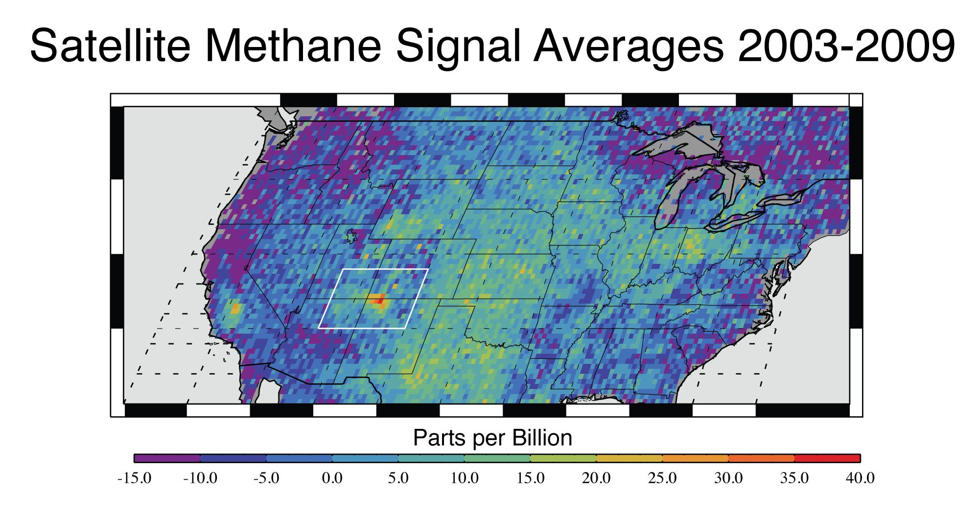 US-Forscher haben auf Satellitenaufnahmen eine riesige Methanquelle im Westen des Landes gefunden. Dort entweichen jedes Jahr rund 600.000 Tonnen Methan aus dem Boden.