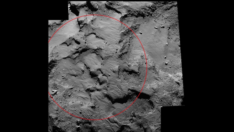 Rot eingekreist ist der Landeplatz J, wo das Landemodul am 12. November auf dem Kometen Tschuri aufsetzen wird.