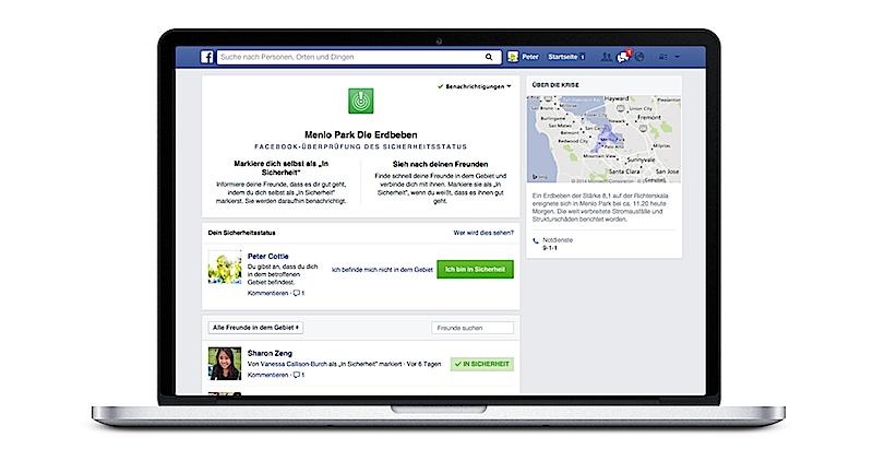 Befindet sich der User im Krisengebiet, fragt Facebook automatisch nach dessen Wohlbefinden. Mit dem Drücken nur einer Taste gibt er dann Entwarnung.