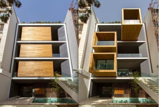 Das spektakuläre Boxenhaus von Teheran: Links im Bild sind die drei drehbaren Räume zugeklappt, rechts geöffnet und der Sonne zugewandt. Die Drehtechnik des Hauses, das das Teheraner Architekturbüro Nextoffice geplant hat, kommt aus Deutschland.