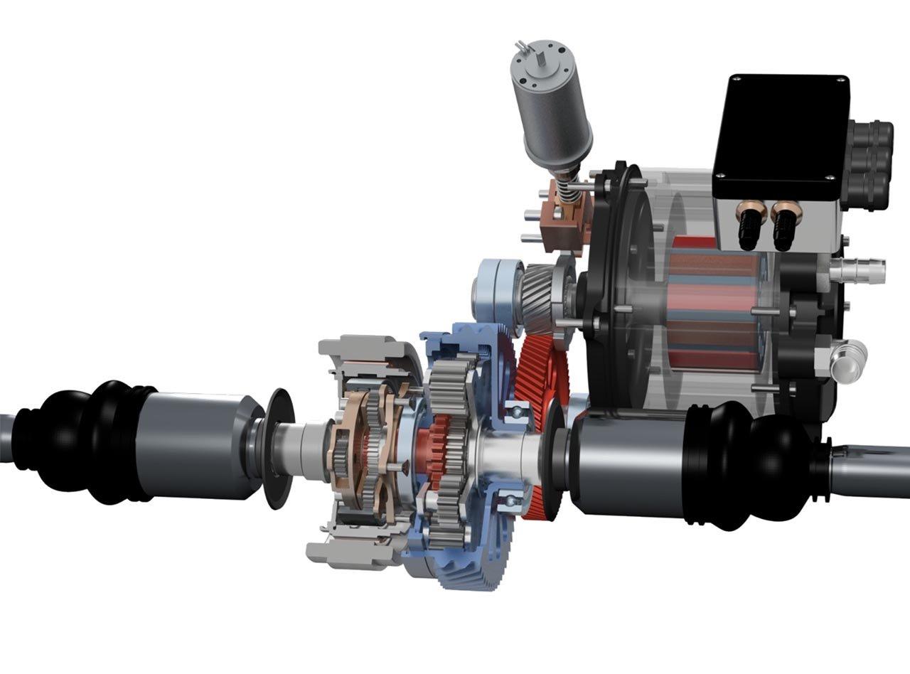 Konzept eines besonders leichten Antriebsstrangs für ein Elektrofahrzeug: Der Elektromotor ist kombiniert mit einem zweistufigen Untersetzungsgetriebe sowie einer Torgue-Vectoring-Einheit.