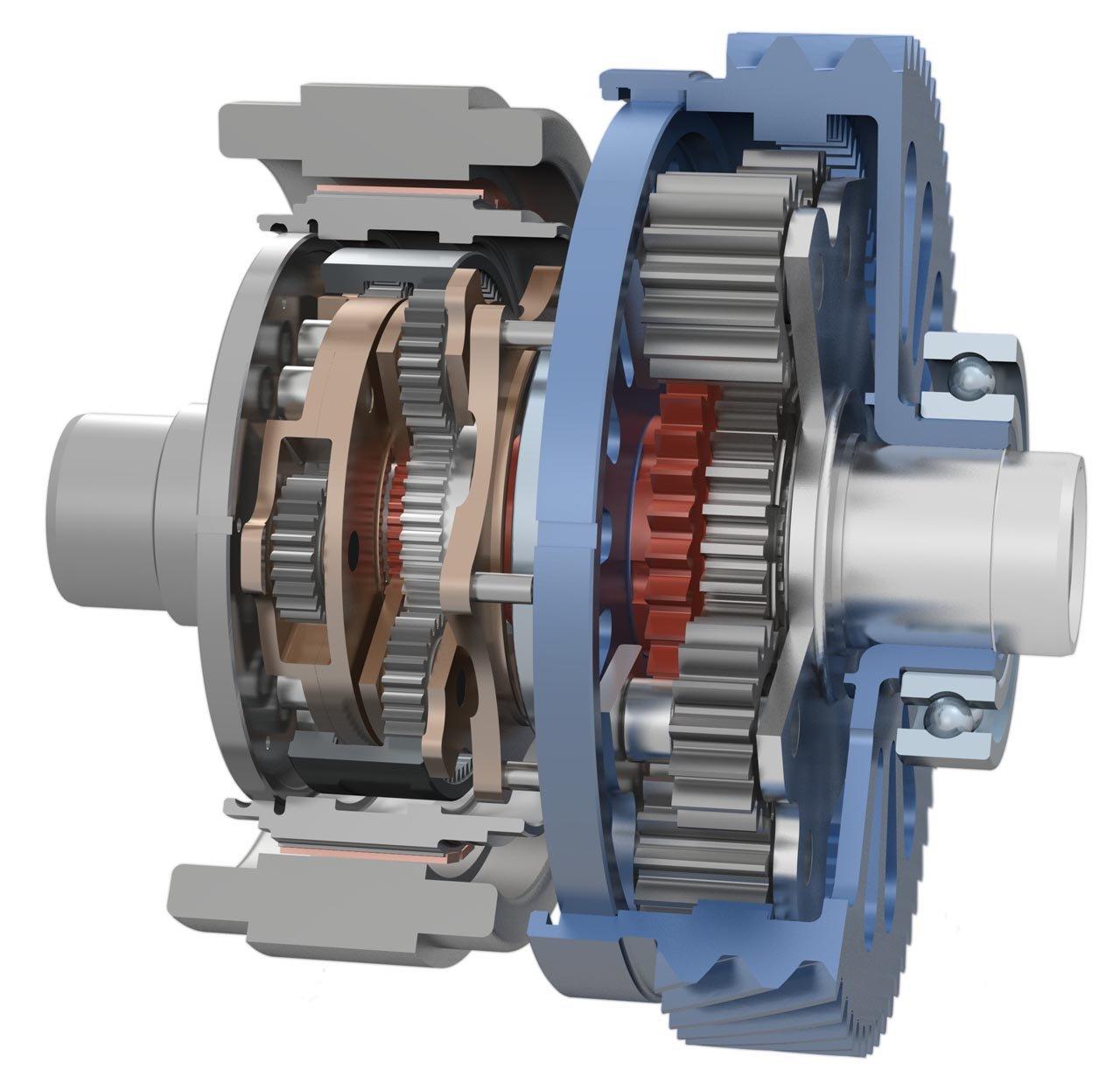 Das für den Elektroantrieb optimierte Torque-Vectoring-Getriebe im Visio.M.