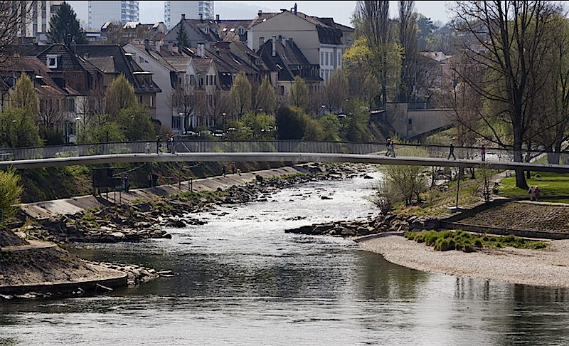 Die Birsbrücke bei Basel passt sich in den Augen der Jury mit ihrem sanften Bogen sensibel der Landschaft an. Das Problem der Eigenfrequenzen haben die Architekten gelöst, indem sie sie die Brücke in zwei Felder unterteilt haben.
