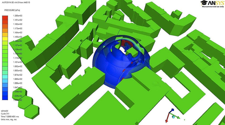 Die TUM-Forscher haben ein Simulationsmodell zur Druckwellenausbreitung bei der Sprengung des Blindgängers in München im Jahr 2012 erstellt.