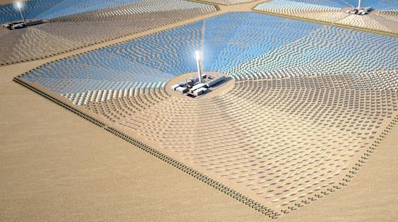 Solarfeld in Tunesien im Modell: Das britische Energieunternehmen Nur Energie Ltd. will mit riesigen Solarfeldern in Tunesien rund 2,5 Millionen Haushalte in Großbritannien mit Solarstrom versorgen.