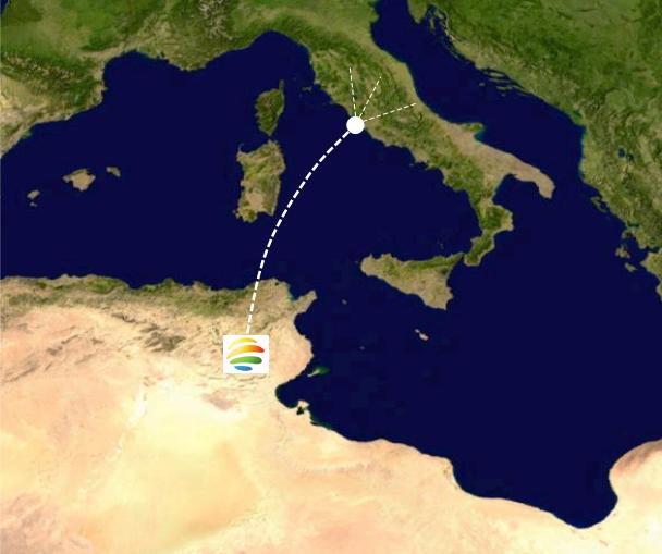 Nur Energie will den in Tunesien erzeugten Solarstrom über eine neue, 450 Kilometer lange Leitung durchs Mittelmeer nach Italien leiten und von dort weiter nach Großbritannien. Bereits 2018 soll die Stromproduktion in Tunesien beginnen.