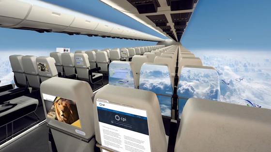 Nichts für Passagiere mit Flugangst ist diese visionäre Flugzeugkabine desbritischen Forschungsverbunds Center for Process Innovation (CPI). Statt Fenstern geben riesige Displays den Passagieren das Gefühl, sie würden ohne Flugzeug über den Wolken fliegen.