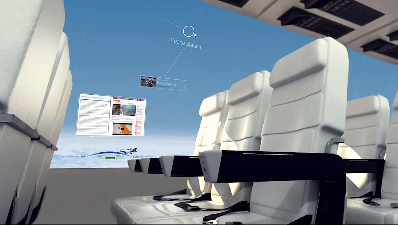 Auf den Touchscreens könnten sich Passagiere auch Informationen anzeigen lassen, beispielsweise zur Position der Internationalen Raumstation ISS.