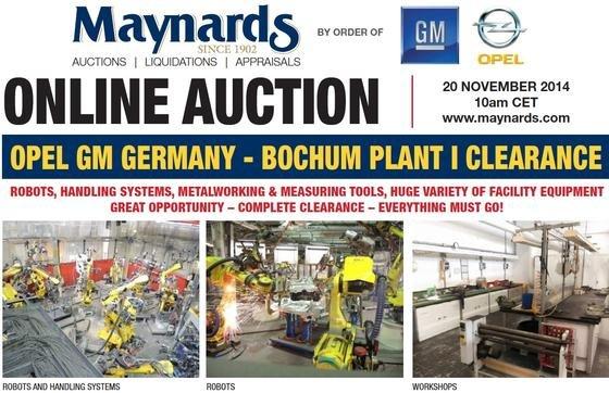 Auktionskatalog des kanadischen Versteigerers Maynards: Bis zum 20. November werden große Teile der Maschinen des Opel-Werkes in Bochum verkauft. Dabei läuft die Produktion erst am 12. Dezember aus.