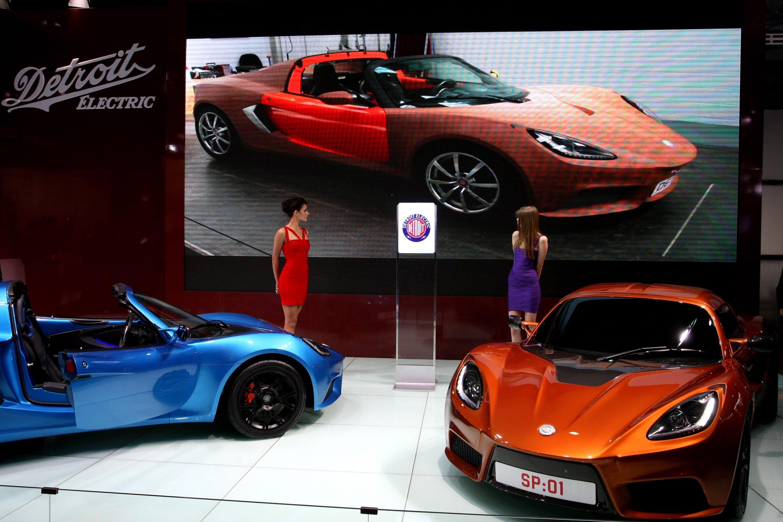 So präsentierte Detroit Electric im April 2013den SP:01 in Shangai auf der internationalen Automesse.