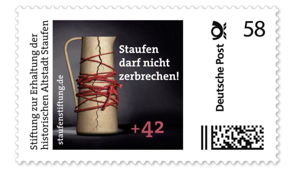 Briefmarke mit zebrochenem Krug