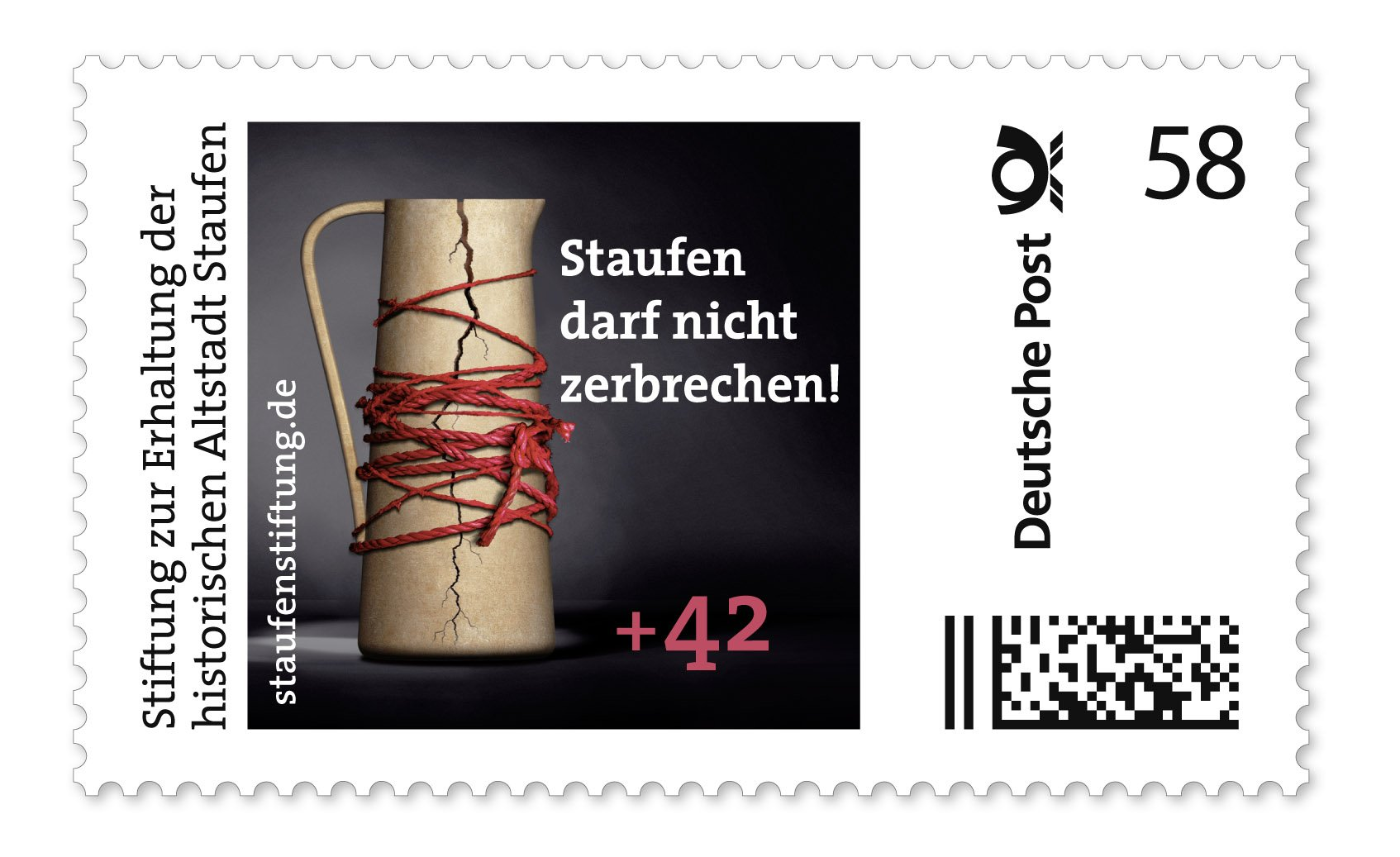 Briefmarke zugunsten von Staufen: Mit der Marke will die Staufenstiftung die Sanierung der Altstadt fördern.