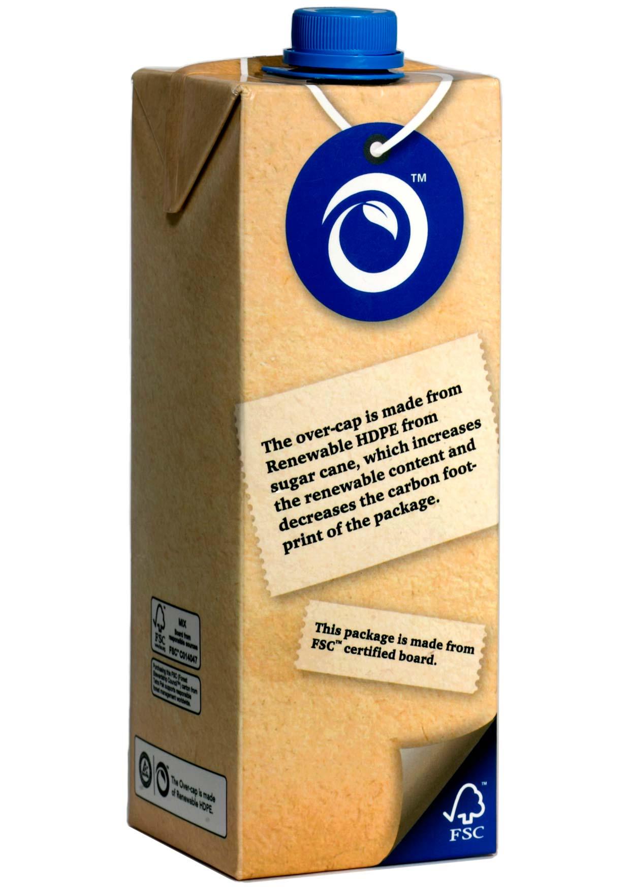 Der Großteil der nachwachsenden Verpackung besteht aus Rohkarton. Innenbeschichtung und Verschluss fertigt ein Spezialunternehmen aus Zuckerrohr.