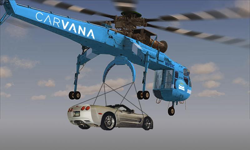 Auch das zählt zu den Ideen des Onlinehändlers Carvana: Autos mit dem Hubschrauber vor die Haustür des Käufers liefern.