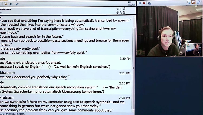 Der Translator gibt die Übersetzung schriftlich aus und liest diese vor – fast in Echtzeit. Sprachbarrieren sollen dadurch zusammenbrechen.