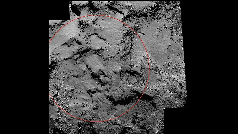 Das ist der Landeplatz für das Landemodul Philae – vom DLR jetzt getauft auf den Namen Agilkia. Namensgeber ist eine ägyptische Nil-Insel.