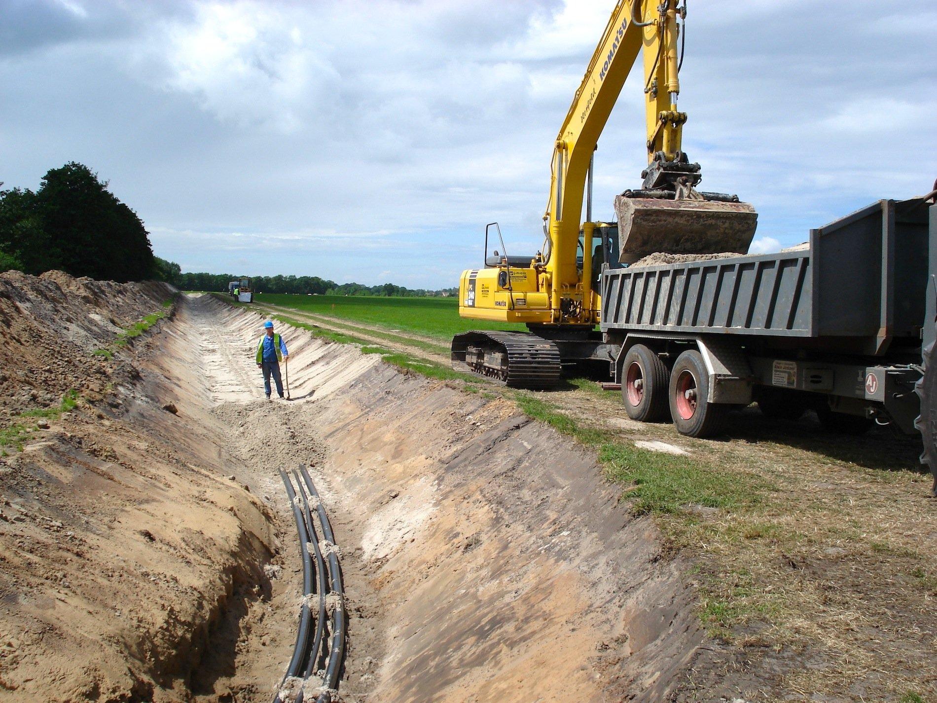 Verlegung eines Erdkabelsbei Emden zur Anbindung des Windparks Borkum 2.