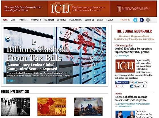 Webseite der investigativen Journalistengruppe ICIJ: 80 Journalisten haben weltweit die Steuerhinterziehung von Konzernen mit Hilfe des Großherzogtums Luxembourg recherchiert. Mehr als 27.000 Dokumente haben sie ins Netz gestellt, die den Vorwurf untermauern.
