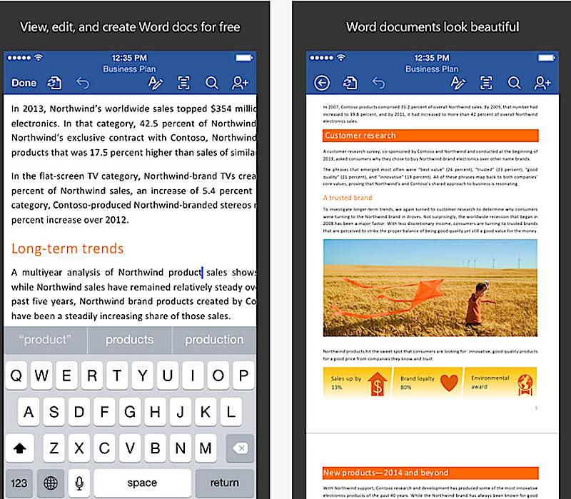 Microsoft Word funktioniert jetzt auch als Gratis-App auf dem iPhone: Eine Autocomplete-Funktion erleichtert das Tippen auf der kleinen Smartphone-Tastatur.
