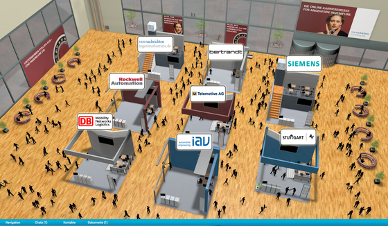 Halle 1 der Online-Karrieremesse der VDI nachrichten: 14 Unternehmen stellten aus, mehr als 1000 Absolventenwaren im Schnitt anderthalb Stunden unterwegs.