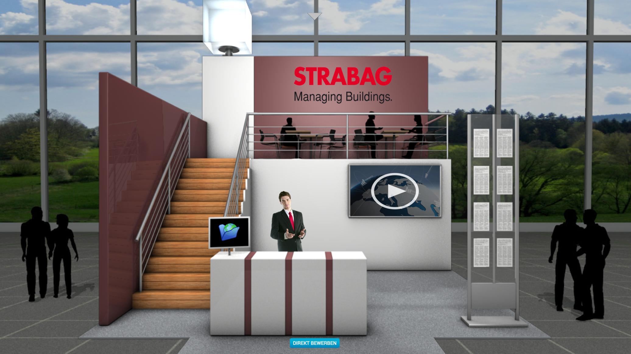 Unternehmensstand des Baukonzerns Strabag auf der Online-Karrieremesse.